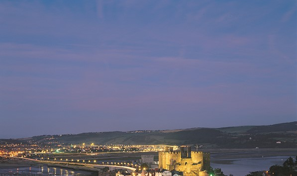 Conwy town and castle at night