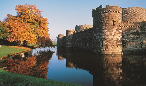 Beaumaris castle and moat on Anglesey