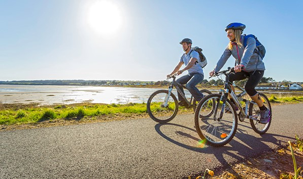 Cycling On The Cob At Malltraeth Lon Las Cefni Wales Coast Path On Anglesey
