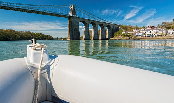 Rib Ride On Menai Strait Passing Menai Suspension Bridge Anglesey