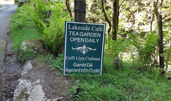 Sign for Llyn Crafnant Cafe