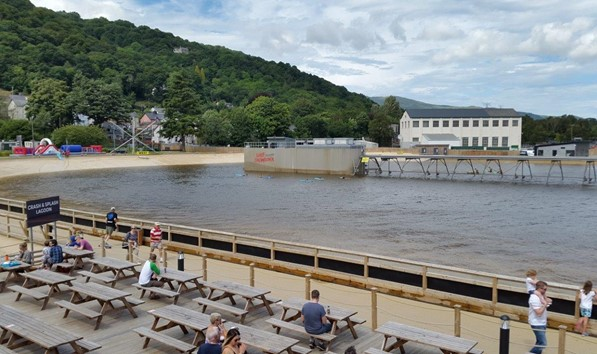 Outdoor seating at Surf Snowdonia