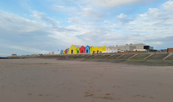 Colourful buildings on Prestatyn Beach
