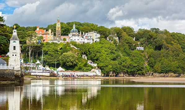 Portmeirion viewed from the estuary