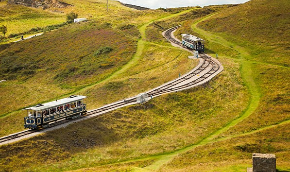 Trams passing on the Great Orme in Llandudno