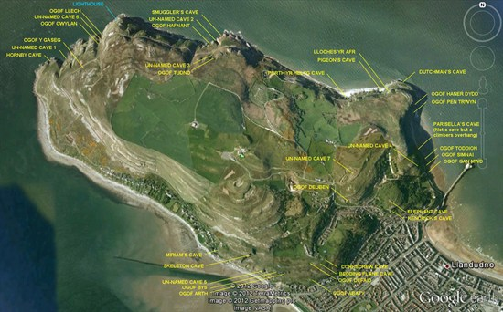 Map of Great Orme caves
